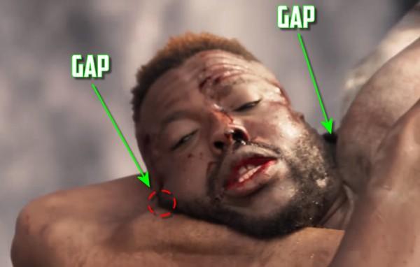 "There are gaps between Winston Duke's (""M'Baku"") carotid arteries"